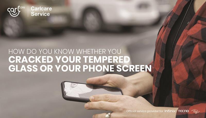 broken tempered glass or broken phone screen