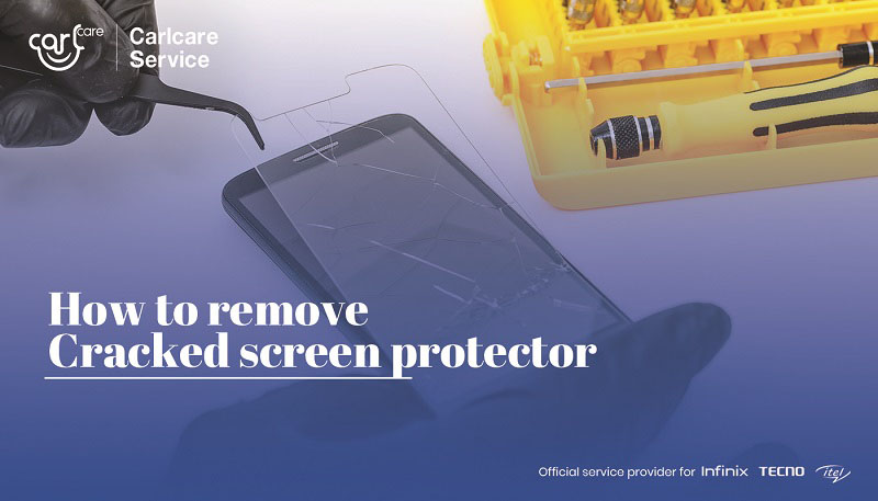 how to remove a cracked phone screen protector