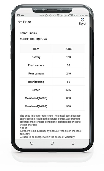 screen replacement cost for infinix in egypt