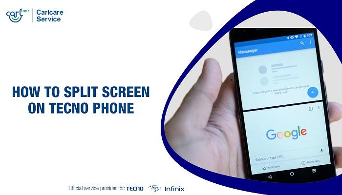 splite screen on tecno