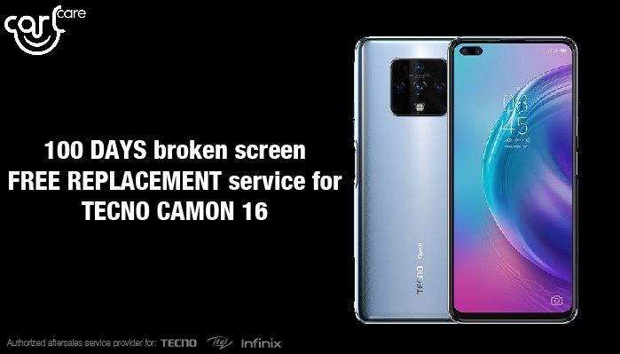 free screen replacement for new tecno camon 16